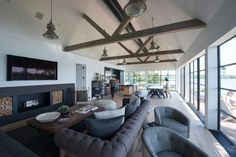 Sag Harbor Boat House (Desire To Inspire) Living Etc, Home And Living, Living Room, Water House, Boat House, Great Room Layout, Screen House, Dining Room Inspiration, Interior Inspiration