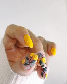 Want some ideas for wedding nail polish designs? This article is a collection of our favorite nail polish designs for your special day. Nail Art Cute, Cute Nails, Pretty Nails, Cat Nail Art, Nail Polish Art, Nail Art Yellow, Colorful Nail Art, Nail Pink, Fruit Nail Designs