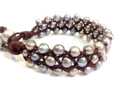 Freshwater Pearl and Leather Necklace NaRiSa N 8910 by AdiDesigns