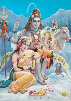 Shiva Family 1960's Print. Subhash Picture Publishers. (via ebay: allegory0003)
