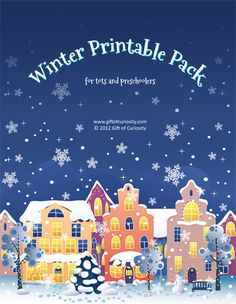 Free winter printable pack for toddlers and preschoolers