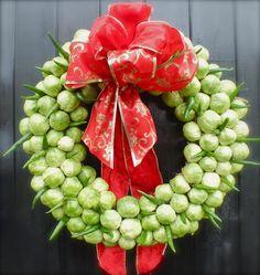 Sprout Christmas Wreath. How to make at: http://maddocksfarmorganics.co.uk/latest-blog/edible-christmas-wreath/