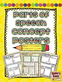 """Parts of Speech Concept Posters - create a fabulous """"grammar wall"""" for all the parts of speech.  Makes an easy sub day activity, too.  $"""