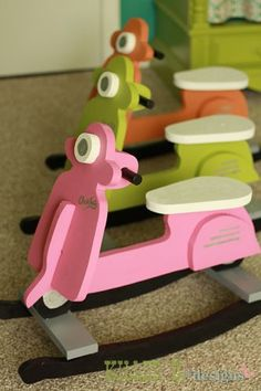 Make this cute rocking scooter!!! It's DIY and you can do it! Free plans!