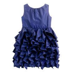 The perfect dress for all the grown-up places she goes, finished with cascading ruffles on a twirl-worthy skirt. We lined it in soft cotton, so she'll feel extra comfy (and stay fuss-free). <ul><li>A-line silhouette.</li><li>Full skirt.</li><li>Falls to knee.</li><li>Silk taffeta.</li><li>Back zip.</li><li>Lined.</li><li>Dry clean.</li><li>Import.</li><li>Available at the crewcuts store on Madison Avenue.</li></ul>