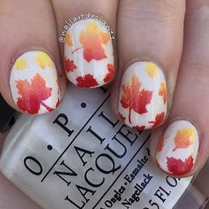 The Crisp season of Autumn is upon us! And Leaf Manis are everywhere! Thank you @nailartdesign11!!! Create perfect Leaves with Autumn Leaf Stencils @ snailvinyls.com - Leaf #NailVinyls snailvinyls.com