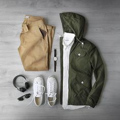 Gearing up for a rainy week.  Shirt: @corridornyc Japanese Oxford Jacket: @penfieldusa Rochester in Olive Chinos: @nonationality07 Marco Khaki Wallet: @starkmade Sunglasses: @persol Watch: @uniformwares C40 w/ Cordovan Strap Headphones: @jabra Shoes: @converse Jack Purcell