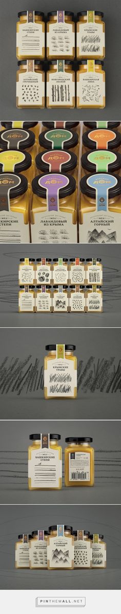 Art direction, illustration and packaging for Honey House on Behance by Masha Ponomareva Moscow, Russian Federation curated by Packaging Diva PD. Variations in rhythm, density and line weight result in a series of packages that are visually consistent yet unique.