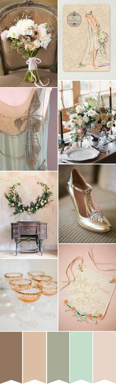 An 1920s inspired wedding colour palette with soft tones and gold accents   www.onefabday.com