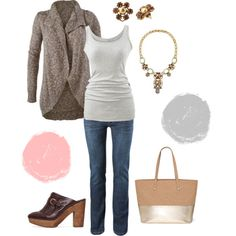 CAbi Fall 14 Swear by Sweater, Essential Tank and Heritage Wash Jeans! Super casual and cute for fall.