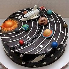 Süße Kindergeburtstagstorten Petits Anges - Make-up - Sweet Petits Anges Kindergeburtstagskuchen - Crazy Cakes, Fancy Cakes, Cute Cakes, Bolo Do Sistema Solar, Solar System Cake, Diy Solar System, Space Solar System, Galaxy Cake, Cakes For Boys