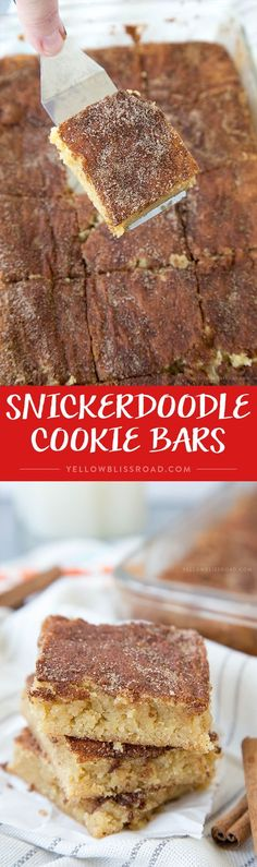Bars Snickerdoodle Cookie Bars - your favorite classic cookie in bar form, no rolling required!Snickerdoodle Cookie Bars - your favorite classic cookie in bar form, no rolling required! Köstliche Desserts, Delicious Desserts, Dessert Recipes, Yummy Food, Brownie Desserts, Bar Recipes, Cupcakes, Baking Recipes, Cookie Recipes