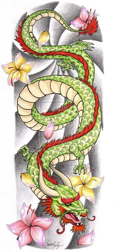 chinese dragon tattoo designs | Chinese Dragon Tattoo Sleeve by The-Blackwolf on deviantART