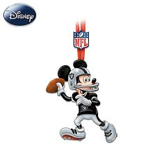 Disney characters salute the Raiders. Christmas ornaments handcrafted in collaboration with Disney artists. Licensed by NFL Properties LLC and Disney. Nfl Oakland Raiders, Raiders Football, Mickey Baby Showers, Disney Ornaments, Christmas Ornaments, Christmas Trees, Raiders Stuff, Classic Disney Characters, Raiders Baby