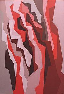 "Karl Benjamin: ""Orange, Red, Umber"" 1958, 52 x 36 inches. ©Benjamin Artworks, reproduced by permission."