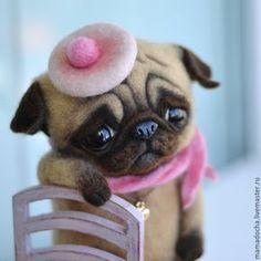 Купить В ожидании - розовый, бежевый, мопс, мопсик, собака, собака из шерсти, милота