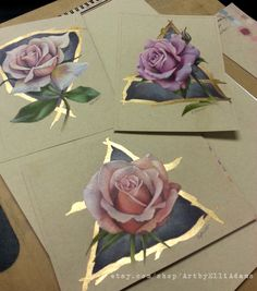 All finished. muted color roses with elemental symbols and metallic ink. Originals available on my Etsy page