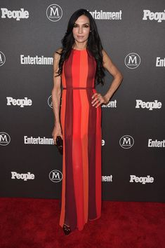 Famke Janssen Maxi Dress - Famke Janssen brought a bright pop to the Entertainment Weeky and People New York Upfronts with this color-block maxi dress.