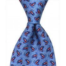 Shrimp Tie – Blue Custom necktie designed in New Orleans and handmade from 100% natural silk.