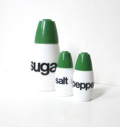 Gemco Helvetica Salt, Pepper and Sugar Shakers