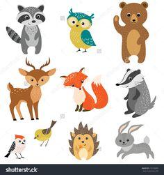 Set Of Cute Woodland Animals Isolated On White Background. Banco de ilustração vetorial 276726803 : Shutterstock