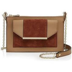 Dkny Bryant Park Suede Panel Top Zip Crossbody (575 PEN) ❤ liked on Polyvore featuring bags, handbags, shoulder bags, crossbody shoulder bags, brown handbags, brown crossbody purse, dkny shoulder bag and suede shoulder bag