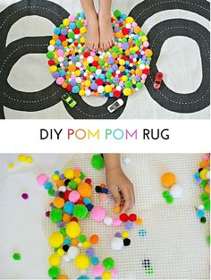 Cute and Easy Kid-Made DIY Pom Pom Rug.