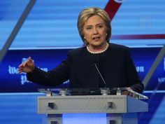 Headline: Moments Trump Has Come Under Fire Over Comments About Women Caption: Clinton during her debate against Bernie Sanders at the Univision News and Washington Post Democratic Presidential Primary Debate, March 9, 2016, in Miami.