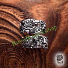 Odin's Ravens Ring. Huginn and Muninn Ring. Raven Ring. Viking ring. Odin. Viking Jewel. Pagan Jewel