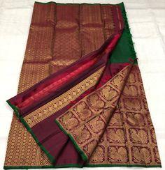 Kanjivaram Sarees Silk, Indian Silk Sarees, Kanchipuram Saree, Pure Silk Sarees, Half Saree Lehenga, Saree Look, Saree Dress, Sari, Bridal Sarees South Indian
