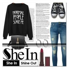 """""""Black Letter Print Sweatshirt"""" by emerald-writer-girl ❤ liked on Polyvore featuring MICHAEL Michael Kors, Converse, Burt's Bees and Sophie Buhai"""