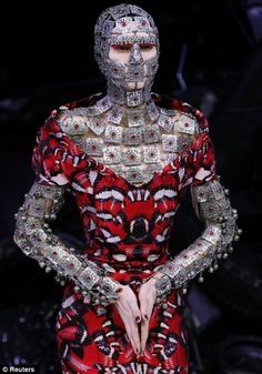 Alexander McQueen continues to experiment with body modification and fuses the world of fashion with art