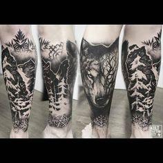 Wolf and forest ✌  #tattoo #tattoos #tattooed #tats #tat2 #tattooer #tattooartist #toptattooartist #ink #inked #inkedup #inkaddict #inkmaster #instatattoo #inkedguys #inkedgirls #kulttattoofest #krakow #poland #wolftattoo #foresttattoo #blackwork #blackworkers