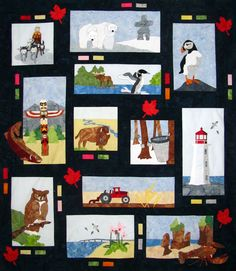 This Is Canada A quilt to commemorate Canada's in 12 blocks. great if you would like to do one block a month. Panel Quilts, Quilt Blocks, Quilting Projects, Quilting Designs, Canadian Quilts, Quilts Canada, Canada Party, Canada Day Crafts, Sampler Quilts