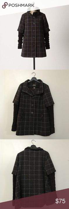 Anthropologie Idra Plaid Sweater Sleeve Coat Beautiful wool plaid sweater sleeve coat from Anthropologie brand Idra. Size 4. Great pre worn condition, some light piling on sleeves. No trades or try ons! Anthropologie Jackets & Coats