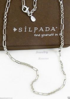 """Silpada """"Timeless"""" Link Necklace .925 Sterling Silver ITALY 18"""" N2786 Retired a #Silpada #Chain"""