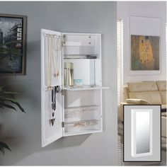 Danya B. White Over the Door Jewelry and Makeup Cabinet Mirror with Interior Mirror and Drop Down Shelf (Danya B. Over the Door Jewelry/Makeup Organizer)