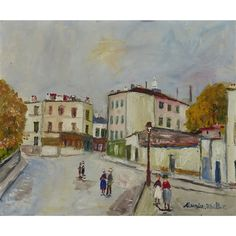 Artwork by Maurice Utrillo, LA PLACE JEAN-BAPTISTE CLEMENT A MONTMARTRE, Made of Oil on canvas