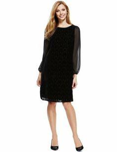 M&S Collection Slash Neck Devoré Tunic Dress-Marks & Spencer