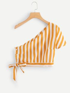 One Shoulder Knot Side Striped TopFor Women-romwe Crop Top Outfits, Cute Casual Outfits, Summer Outfits, Girls Fashion Clothes, Teen Fashion, Fashion Outfits, Fashion Sewing, Trendy Tops, Diy Clothes