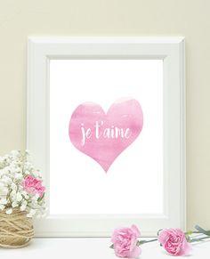 Je t'aime I love you pink Art Print girl room wall decor watercolour nursery wall art by LaSardinaRosa on Etsy