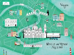 9 Vibrant Illustrated Maps of Venice Map Of Italy Regions, Italy Map, Venice Map, Venice City, Greek Cruise, Travel Illustration, Map Design, City Maps, Venice