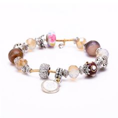 5pcs/lot 2016 new style European Style Original DIY Jewelry  agate charm bracele with man-made crystal Beads Jewelry