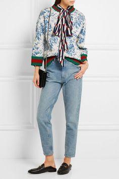 Gucci - Printed Bonded Cotton-jersey Sweatshirt - Blue -