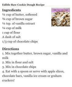 Edible cookie dough recipe! This would be amazing for a sleepover or girls night!