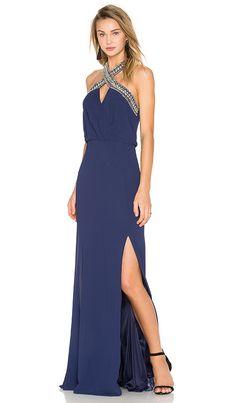 Formal summer wedding guest dress in navy blue | TFNC London Cache Maxi Dress in Navy