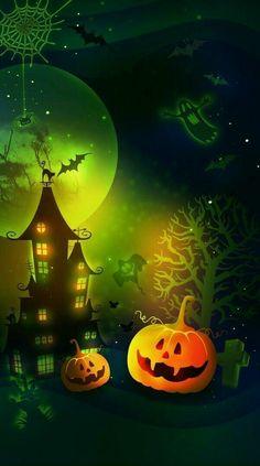 Image Halloween, Halloween Artwork, Halloween Magic, Halloween Scene, Halloween Painting, Halloween Drawings, Halloween Clipart, Holidays Halloween, Halloween Pumpkins