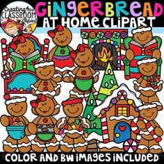Gingerbread at Home Clipart {Christmas Clipart} Vibrant and Whimsical Gingerbread Clipart is sure to add a pop to all of your Holiday classroom resources! There are a total of 34 images (20 color and 14 bw).