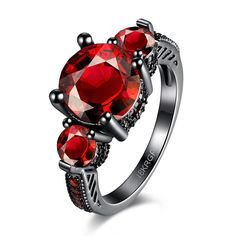 >> Click to Buy << Vintage Charm Women Wedding Christmas CZ Jewelry Gift Black Gold Gun Plated Rings Red Cubic Zircon Bague Femme Decoration Jewel #Affiliate