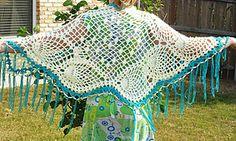 Ravelry: Hand crochet pineapple shawl- white and blue pattern by Liana Graham